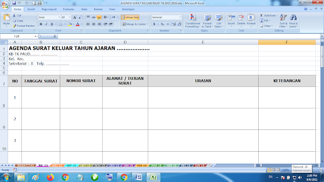 Download Contoh Agenda Surat Keluar Paud TK KB RA