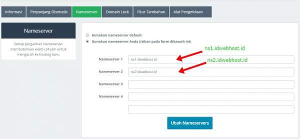 setting nameserver untuk mengganti domain blogspot