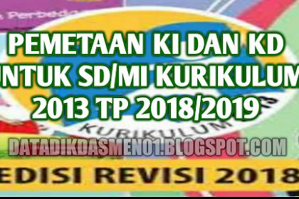 Download Pemetaan KI dan KD Untuk SD/MI Kurikulum 2013 Tahun Pelajaran 2018/2019 Lengkap