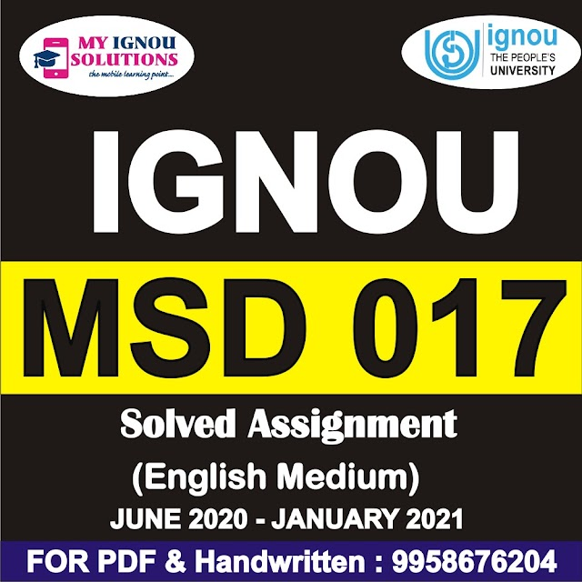 MSD 017 Solved Assignment 2020-21