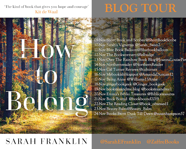"Blog tour poster for ""How to Belong"" by Sarah Franklin"