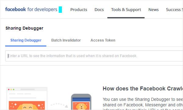 Check open graph tags using Facebook Sharing Debugger