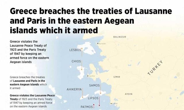 Anadolu: Δημοσίευσε χάρτη με τα ελληνικά νησιά για το πώς «η Ελλάδα παραβιάζει τις Συνθήκες»