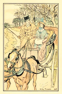 Catherine rides in Mr Tilney's curricle  from Northanger Abbey by Jane Austen  in The novels and letters of Jane Austen  ed RB Johnson (1906)