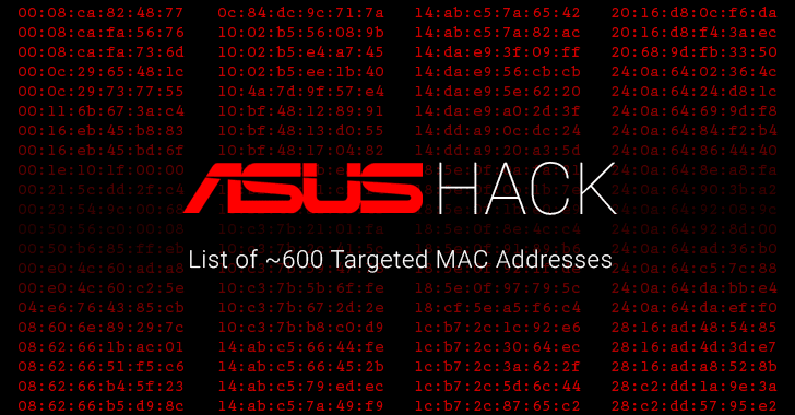 Here's the List of ~600 MAC Addresses Targeted in Recent ASUS Hack