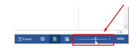 memperbesar dan memperkecil layar dokumen microsoft word dengan Kurangi % dari zoom halaman