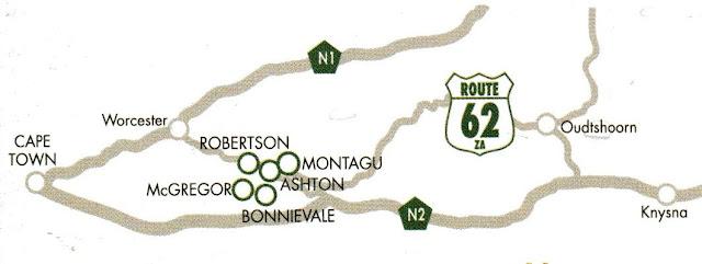 mapa da Rota 62, África do Sul