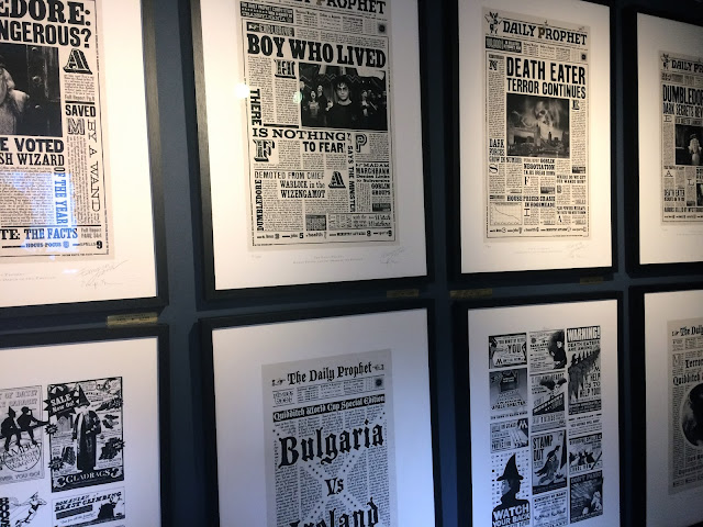 Wall of Harry Potter artwork from Minalima, London
