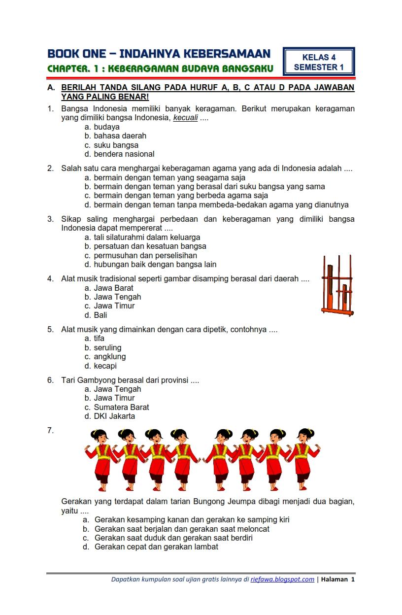 Soal Kelas 4 Tema 1 Subtema 2 : kelas, subtema, Download, Kunci, Jawaban, Kelas, Semester, Subtema, Indahnya, Kebersamaan, Keberagaman, Budaya, Bangsaku, Edisi, Revisi, Terbaru