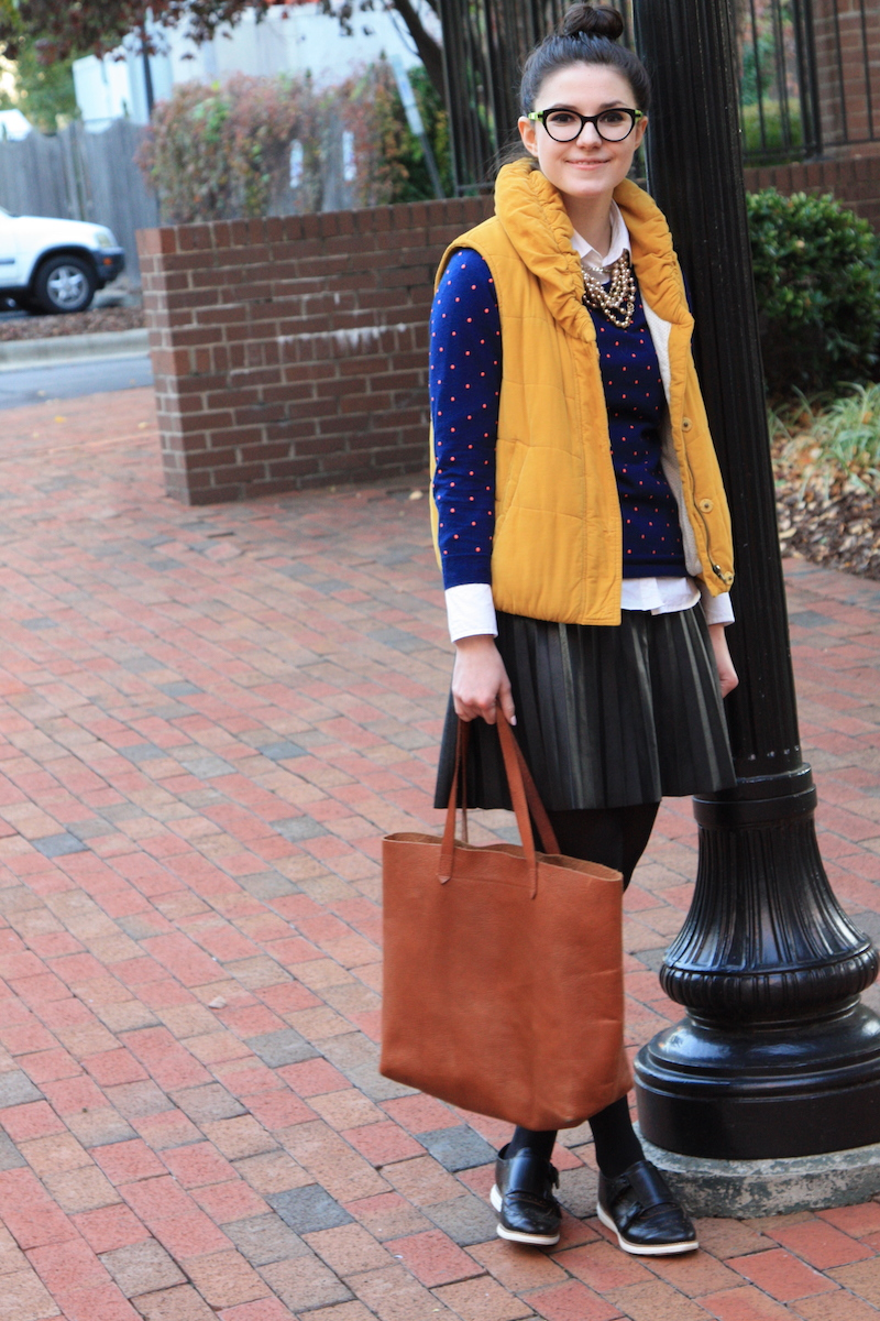 2017, fall, layering, vest, polka dots, leather, top knot, J.Crew,