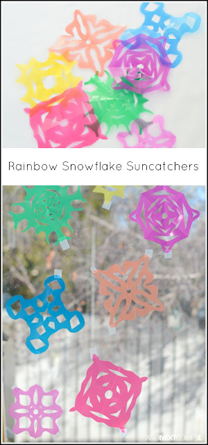 Winter craft for kids: make rainbow snowflake suncatchers from And Next Comes L