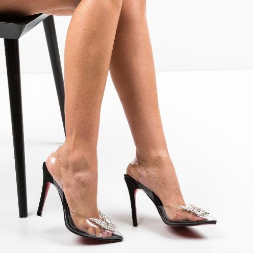 Pantofi Zeltis Negri din silicon transparent