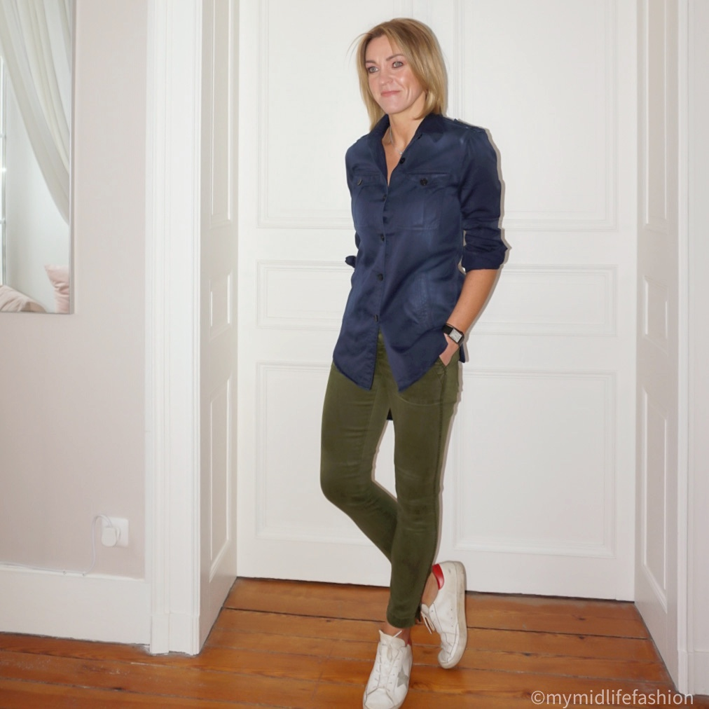 my midlife fashion, j crew combat trousers, Isabel Marant Etoile cargo shirt, golden goose superstar low top leather trainers
