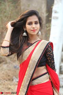 Deekshitha Parvathi in Red saree and Black Choli at Nenu Kidnap Ayyanu Movie Press Meet
