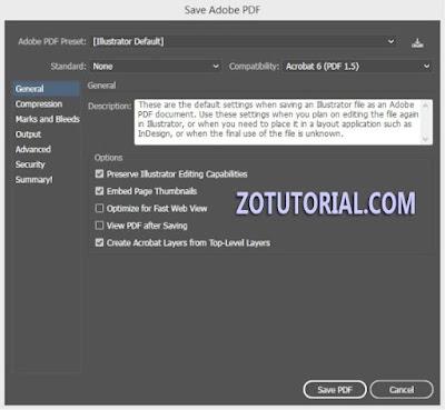 Simpan File Adobe Illustrator CS/CC ke Format PDF by zotutorial.com