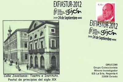 Tarjeta, matasellos, Exfiastur, Gijón