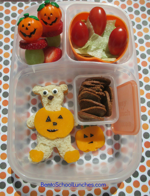 Halloween Bear in Pumpkin Costume bento lunch