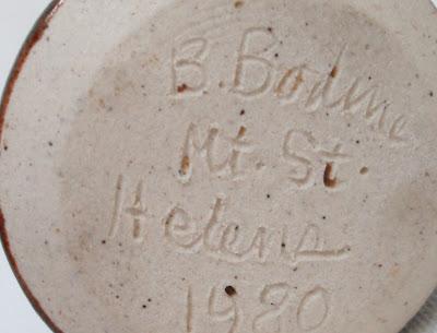 Cork Top Mt Saint Helens Ash Pottery Bottle-Bottom View