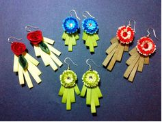 Flower model quilling earrings with comb - quillingpaperdesigns
