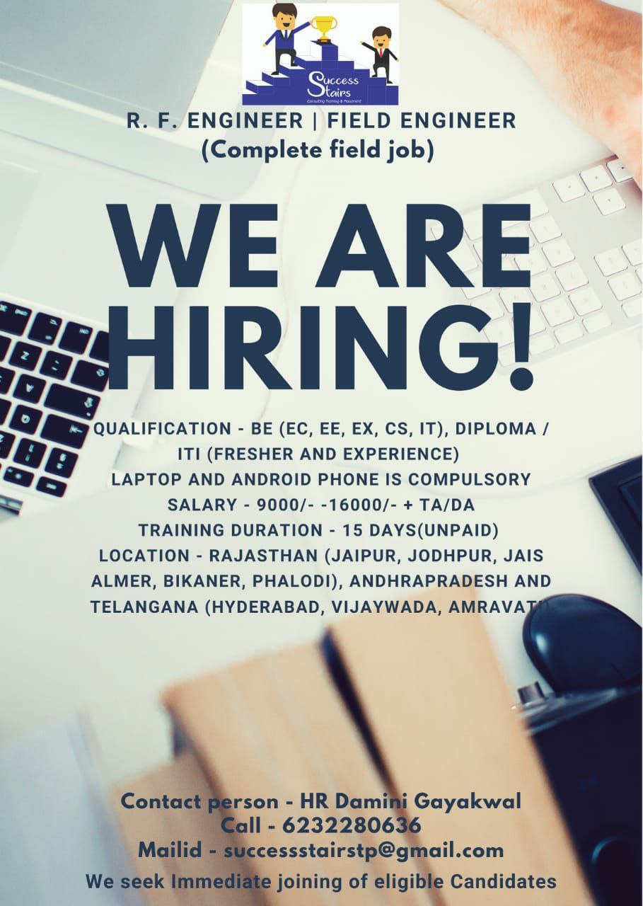 Urgent Requirement Network Support Services R.F. Engineer / Field Engineer for All Over India, Required Qualification BE/Diploma /ITI