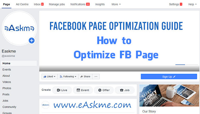 Facebook Page Optimization Guide: How to Optimize FB Page: eAskme