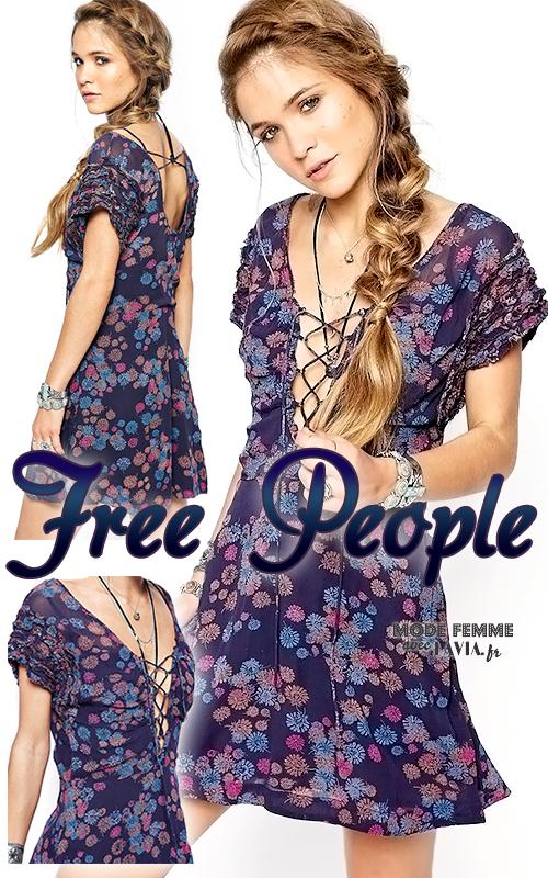 Robe courte d'été bleue à petites manches motif fleuri FREE PEOPLE