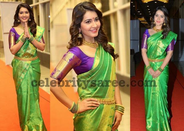 Rashi Khanna in Green Silk Saree