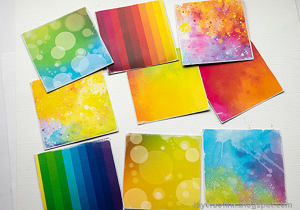 Layers of ink - Rainbow Blocks Scrapbooking Page by Anna-Karin Evaldsson. Whimsy stamps rainbow papers.