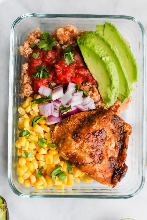 These Southwest Chicken Meal Prep Bowls are the very best way to kick off 2019! Full of healthy fat, carbs and protein - this is not your average boring desk lunch!