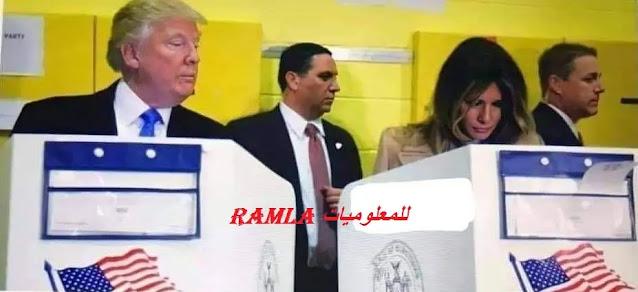 ترامب وزوجته ميلانيا أثناء التصويت