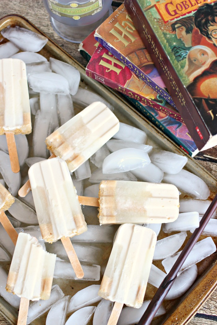 butterbeer popsicles on ice so they don't melt while we read