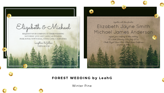 forest pine winter wedding invitations