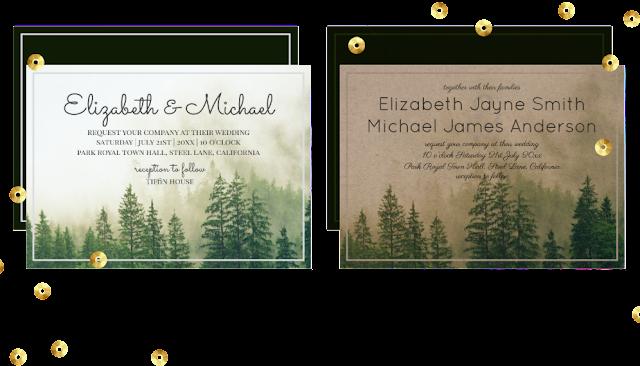 forest pine winter wedding invitations