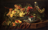Still Life with Fruit and Parrot by Jan Fyt - Fruits Paintings from Hermitage Museum