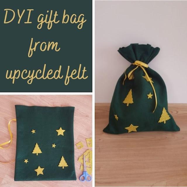 DIY Christmas gift bag from upcycled felt