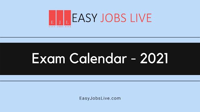 Exam Calendar 2021 List PDF (All States & Central Govt Exams)