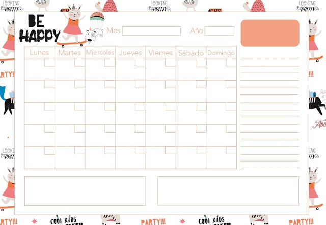 Calendario mensual happy 2020 gratis
