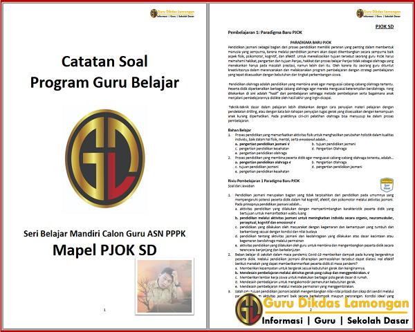 Catatan Soal dan Jawaban Mapel PJOK SD Seri Belajar Mandiri Calon Guru ASN PPPK
