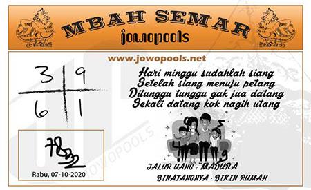 Syair Mbah Semar SGP Rabu 07 Oktober 2020