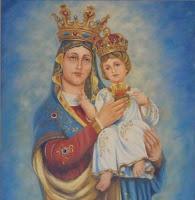 A Virgem Maria mostra o Coração de Seu Divino filho enquanto que o Menino Jesus aponta para a Sua mãe