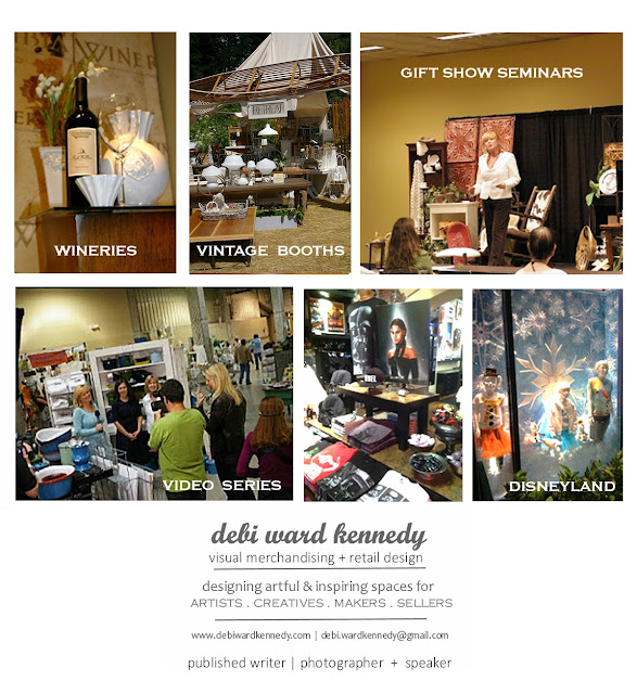 debi ward kennedy visual merchandising display stylist retail store design vintage booth displays winery displays