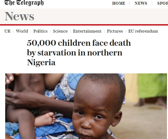 "Presidency blasts UK newspaper Telegraph over ""incorrect"" article on starving IDPs"