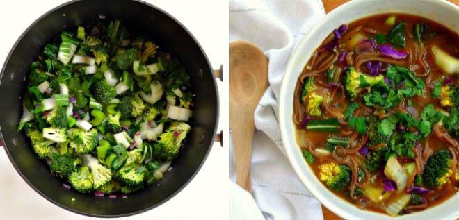 16 Vegan One-Pot Recipes If Your Are Considering Cutting Animals Out Of Your Diet - Veggie & Soba Noodle Soup