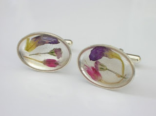 Sterling silver cufflinks with pressed flowers