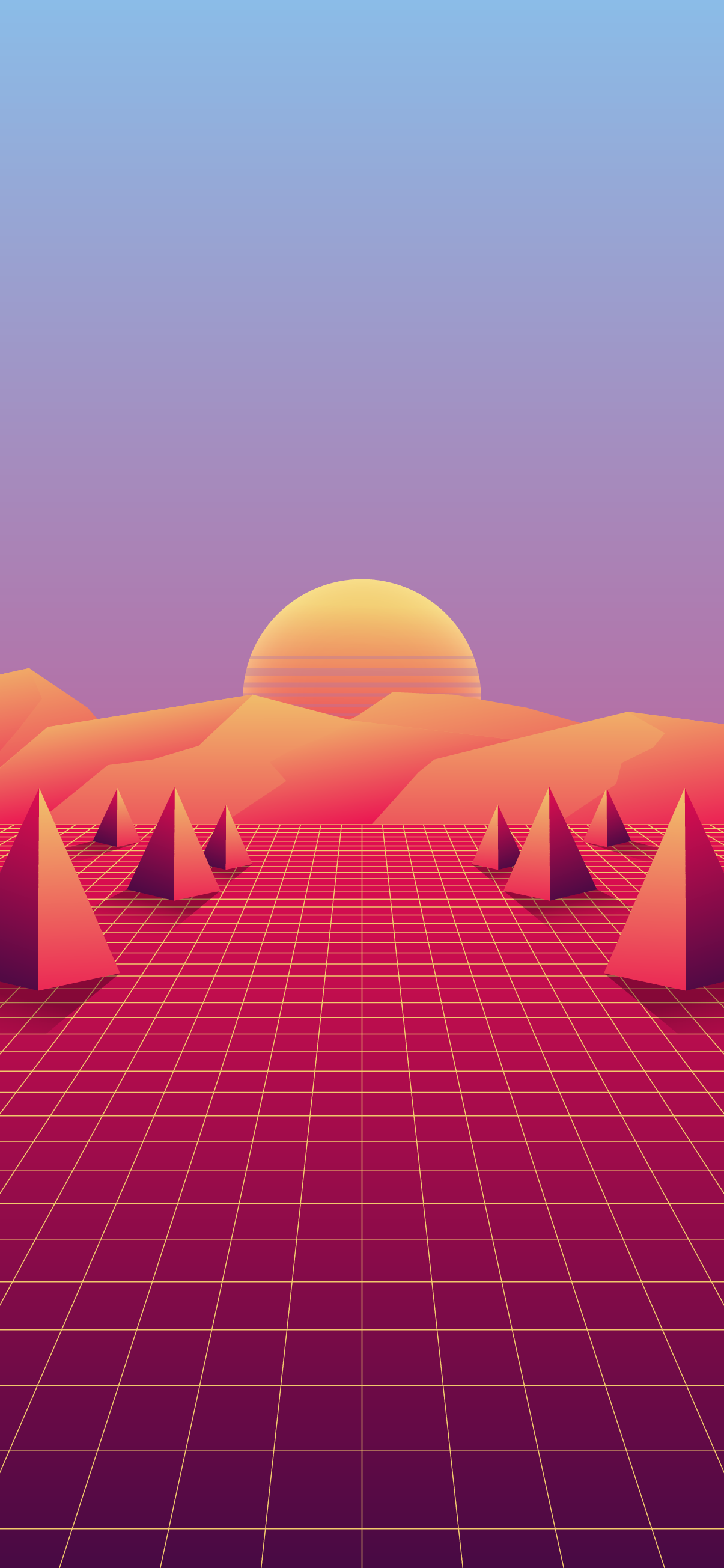 SYNTHWAVE SYNTH-WAVE GEOMETRIC SUN GRID RETRO FUTURISTIC