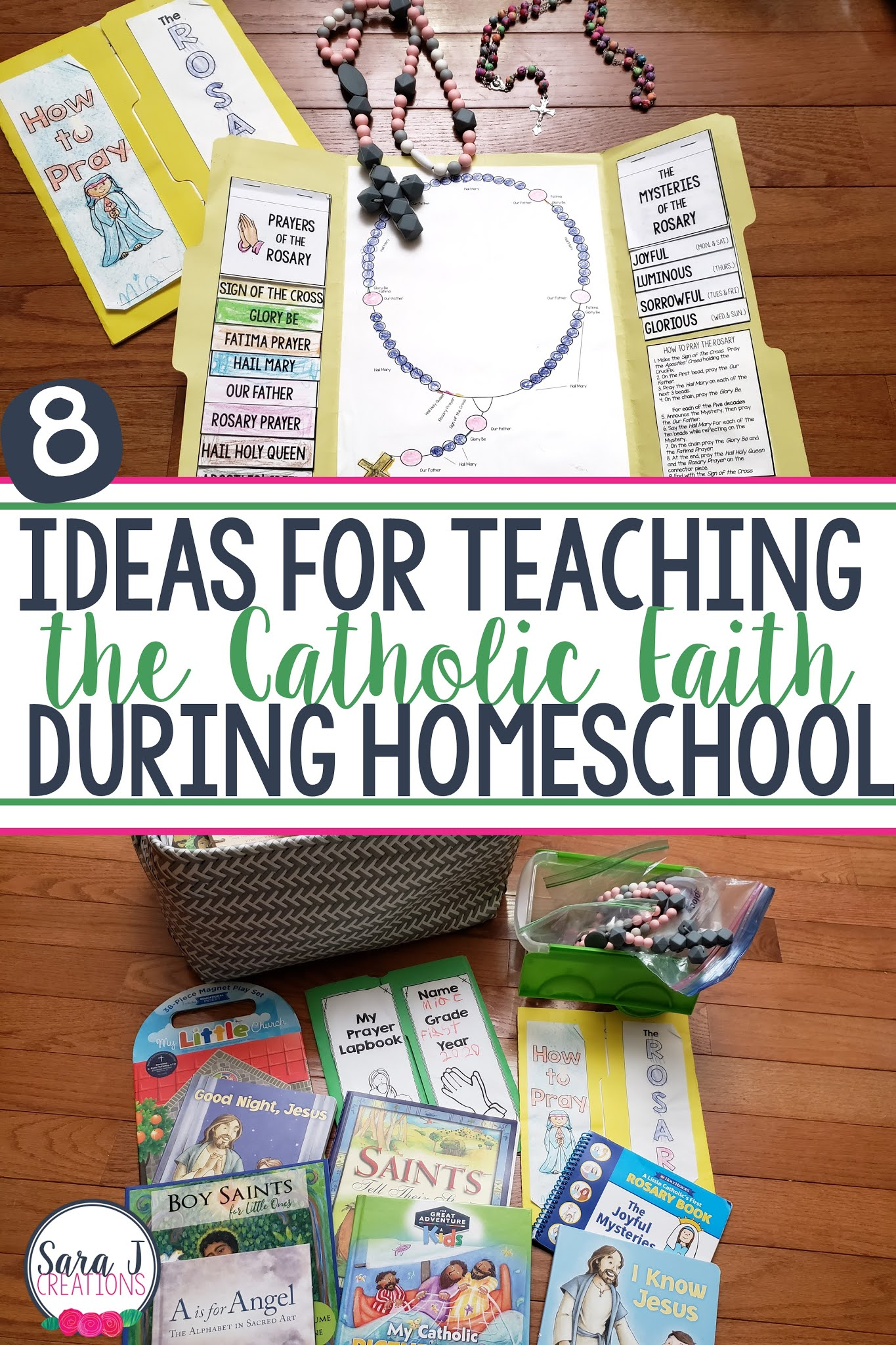 Simple ways to incorporate the Catholic faith into your homeschool day. These ideas could be added to your day even if you aren't homeschooling.