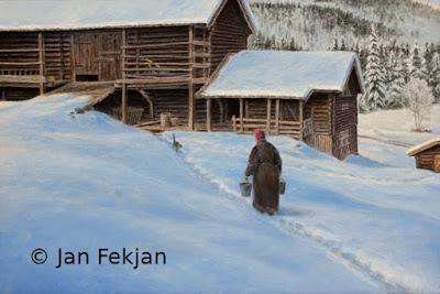 Bilde av digigrafiet 'Til fjøset for å stærve'. Digitalt trykk laget på bakgrunn av et maleri. Hovedmotivet er en gammel kone som går gjennom snøen med bøtter i hendene mot et fjøs, en gammel gårdsbygning. En katt kommer imot henne fra fjøset. Stilen kan beskrives som figurativ, nasjonalromantisk og realistisk. Bildet er i breddeformat.
