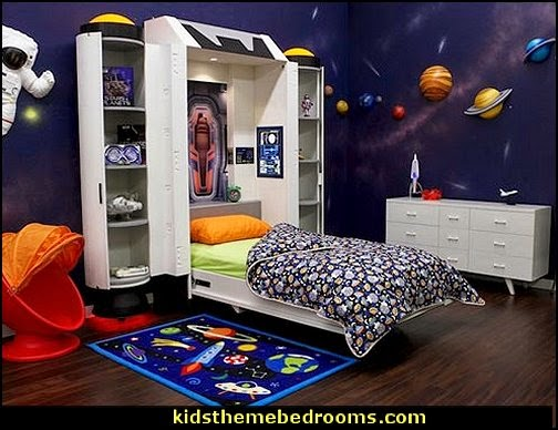 Spaceship Kids Wall Bed  Spaceship  kids beds - Spaceship  themed beds -  Spaceship Kids Wall Bed  Outer space decor - space themed kids rooms - planets decor - astronaut wall murals  - outer space bedding - galaxy themed room decor - space themed bedding - planet wall decals - sci fi themed bedroom robots rockets monsters aliens - Star Wars Bedrooms -
