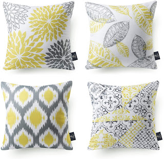 yellow and gray pillows
