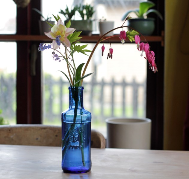 Upcycled Blue Vase with Flowers